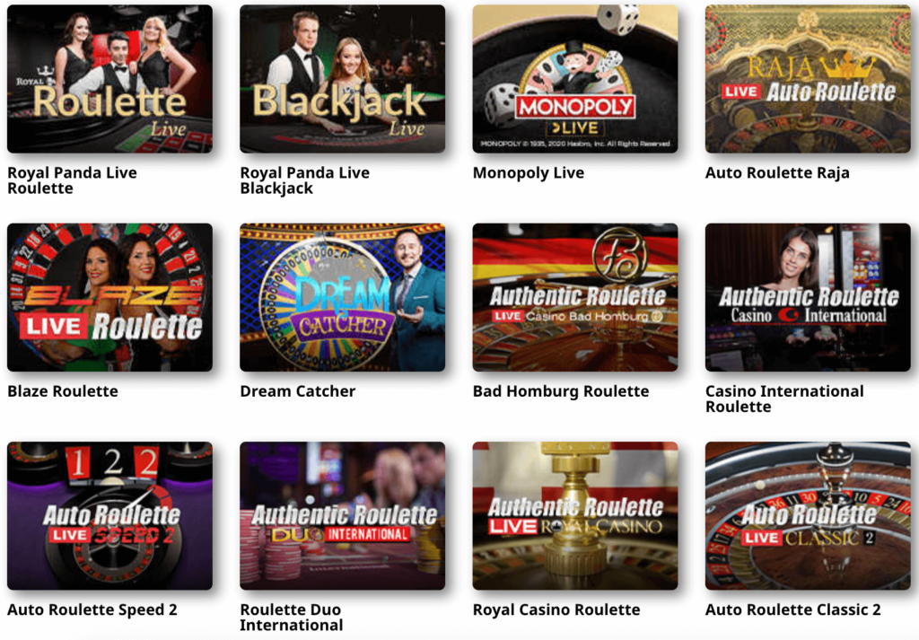 Most popular games to play at Royal Panda Casino
