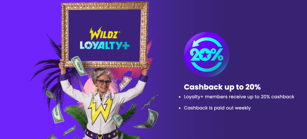 Great loyalty program with 20% cashback weekly at Wildz Online Casino
