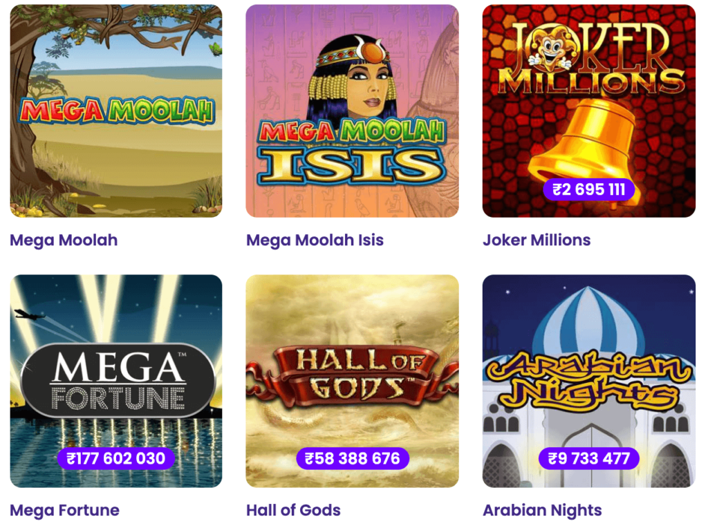 Examples of Progressive Jackpots available at Wildz Online Casino